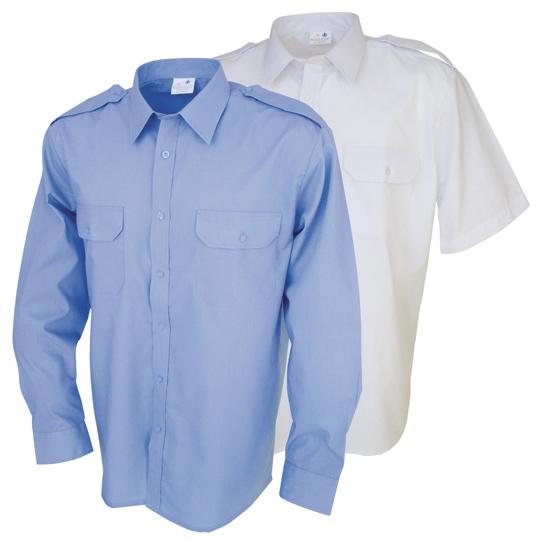 Camisa de trabajo manga larga, dos bolsillos y hombreras