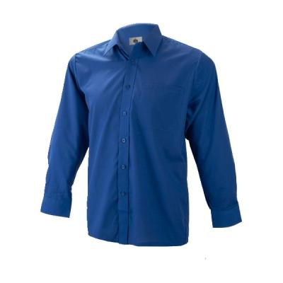 Camisa-manga-larga-algodon-1-bolsillos-marino-Ropa-laboral-Valencia 01