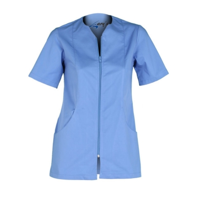 Blusa para señora, de manga corta, con cremallera. De color azul