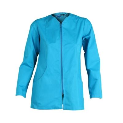 Blusa para señora, de manga larga, con cremallera. De color azul
