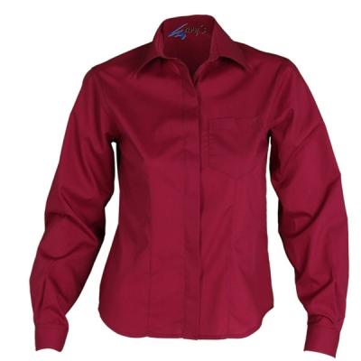Blusa para señora de manga larga, abotonada y de color burdeos