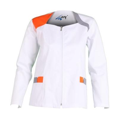 Blusa para señora de manga larga. De color blanco con detalles en naranja y gris