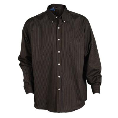 Camisa para caballero de manga larga. A rayas negras y beige