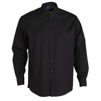 Camisa para caballero con cuello mao negra