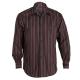 Camisa para hombre, de manga larga, con rayas negras y en tonos rojos