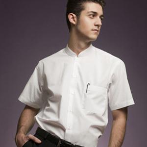 Camisa hombre manga corta con cuello mao