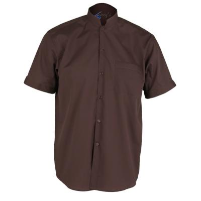 Camisa para caballero con cuello mao marrón