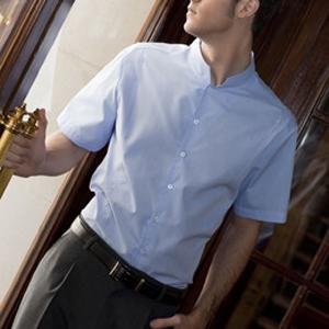 Camisa para hombre de manga corta con cuello mao