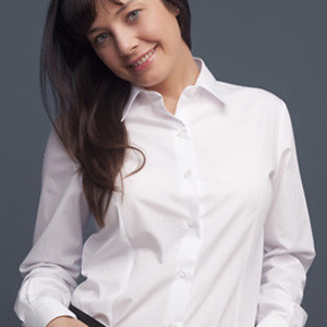 Camisa para mujer de manga larga, con cuello camisero