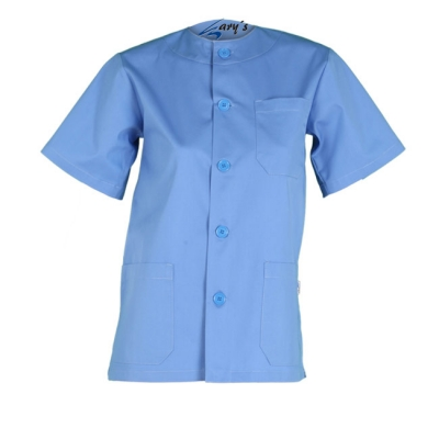 Casaca unisex de manga corta. Con cuello redondo, abotonada, con 3 bolsillos y de color azul