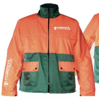 Chaqueta bicolor verde / naranja. Doble bolsillo con tapeta y cierre mediante botones de presión