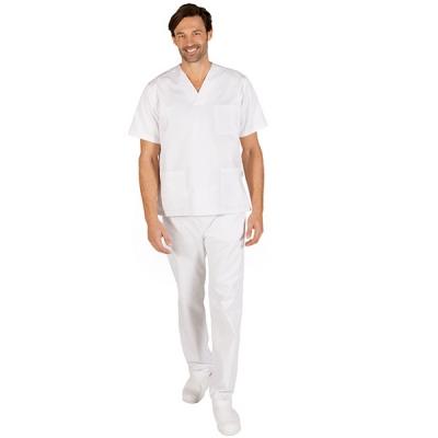 Conjunto Unisex Blanco Pantalón con botón y Bata