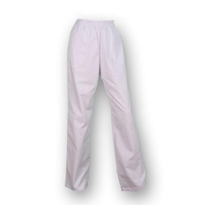Pantalón largo, con goma elástica y de color blanco