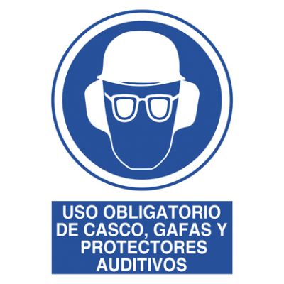 Uso obligatorio casco, gafas, protector auditivo