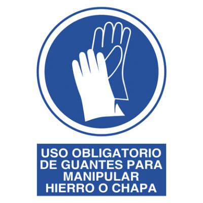 Uso obligatorio guantes hierro chapa
